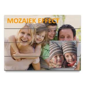 Afdruk op hout met mozaïek effect