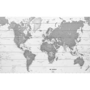 Wereldkaart op hout - zwart-wit