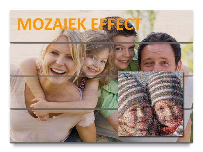 Afdruk op hout met moza�ek effect