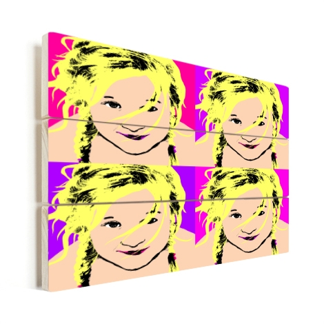 Popart afdrukken op hout. Andy Warhol effect
